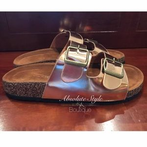 Shoes - Rose Gold Buckle Sandals
